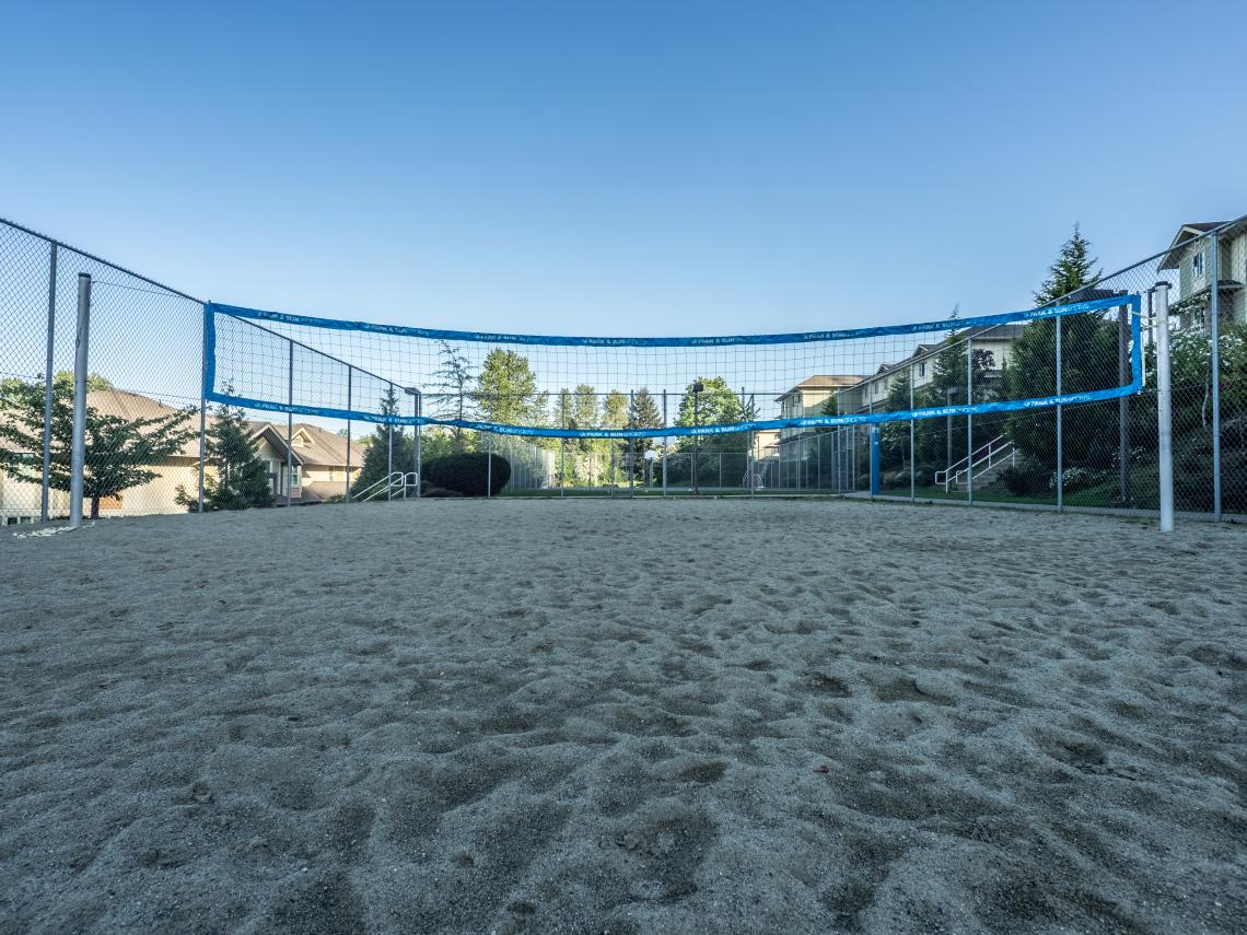 Photograph of the volleyball courts on residence